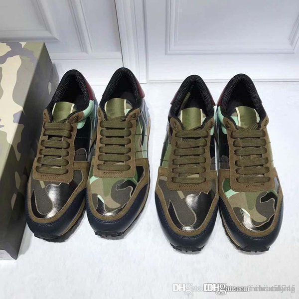 Fashion Classic Army Green Black Light Blue Leather Flats Designer Sneakers Man Woman Couple Camouflage Casual Shoes Sneakers Best Quality
