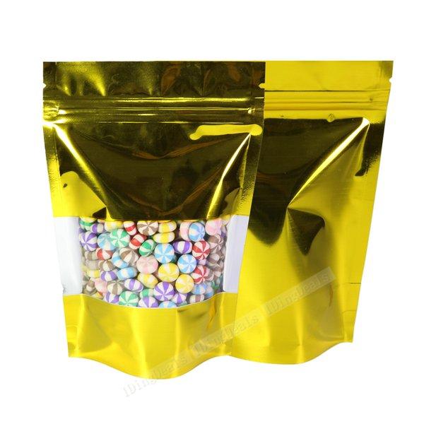 Tamaños variedad Stand Up Bolsas Zip Lock Shine bolsas de oro sellado en caliente del grano de café de almacenamiento con ventana