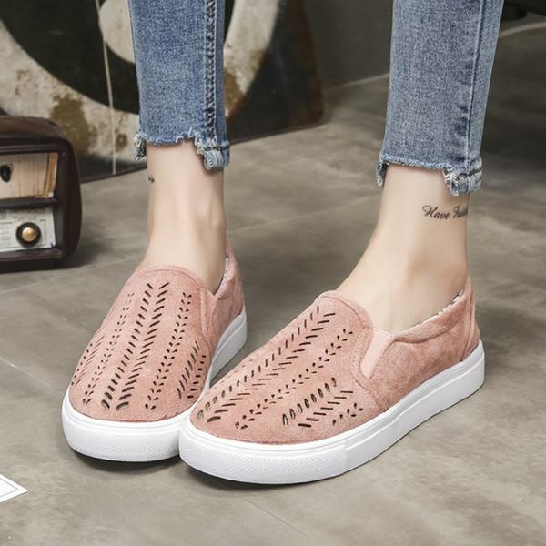 2019 Yeni Moda Kadınlar Katı Renk Büyük Boy Düz Ayakkabı ile Hollow Yuvarlak Kanvas Ayakkabılar Rahat Ayakkabılar Boyutu 35-42