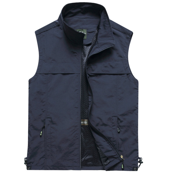 New Fashion Mens Vests Outerwear Outdoor Hunting Fishing Travel Vest Lightweight Full Zip Casual Vests for Men