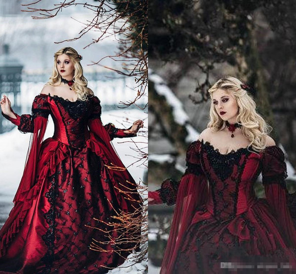 Gothic Sleeping Beauty Princess Medieval burgundy and Black Wedding Dress Long Sleeve Lace Appliques Victorian masquerade Bridal Gowns