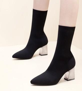 New Arrival Hot Sale Specials Super Fashion Influx Martin Cowgirl Elastic Black Socks Banquet Noble Hight Heels Ankle Boots EU34-39