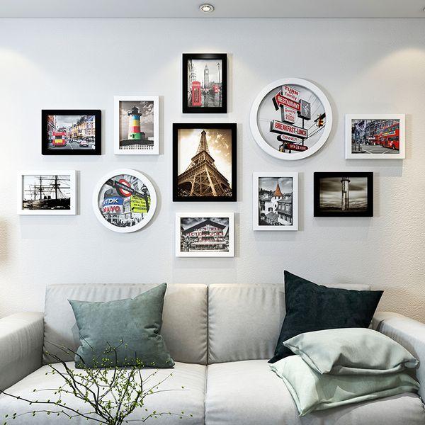 Modern City Style Home Sofa Tv Decor Wall 11pcs/set Photo Quality Cheap Picture Frames Porta Retrato Moldura J190716