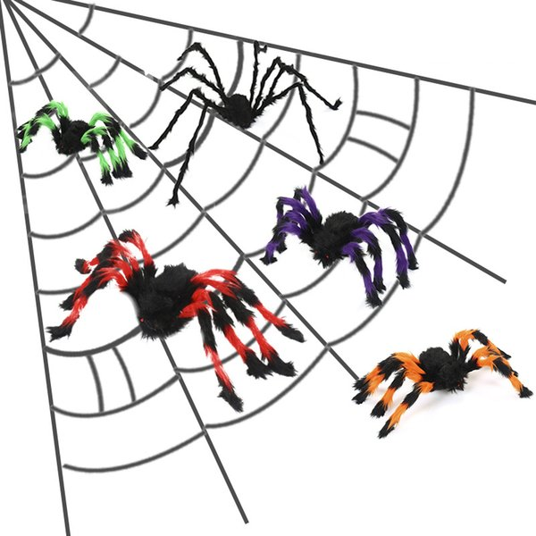 Halloween Party Decoration Black Spider 30/50/60/75/150/200cm Plush Colorful Spider Haunted House Prop Spider Ornament DBC VT0701