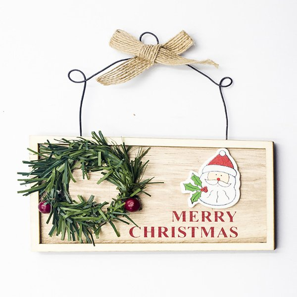 Hanging Wall Plaque Gifts Wooden Square Pendant Decor Funny Christmas Painting Home Cute Door Signs Board Christmas Hangings Christmas Holiday Decor