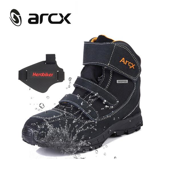 Stivali da moto impermeabili ARCX Stivali da equitazione da moto Scarpe da equitazione in vera pelle scamosciata di mucca Scarpe da moto da strada