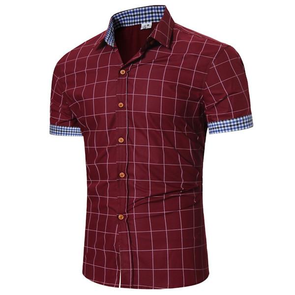 Men's Pliad Top Fit Slim Blouse Business Casual Short-sleeved Shirt Business Slim Office Shirt male Cotton Mens Dress Shirts