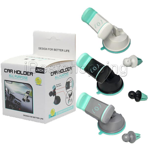 Car Mount Phone Holder Air Vent 360 Degree Rotate Mount Cellphone Grip Safer Driving Universal Phone with retail package
