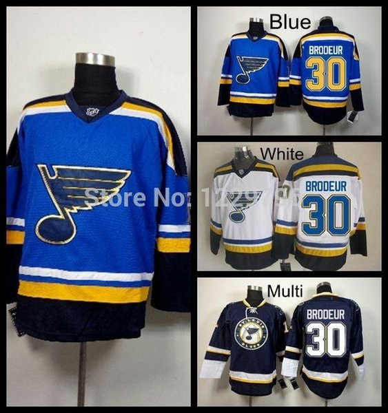 2016 St.Louis Blues Hockey Jerseys #30 Martin Brodeur Jersey New Home Blue Team Color White Cheap Martin Brodeur Jersey