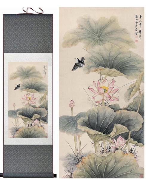 Fiore di loto e uccelli Pittura di arte cinese tradizionale Pittura di inchiostro cinese Pittura a colori del fiore