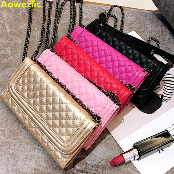 Aoweziic Luxury Folding Mirror Card Wallet Leather Case For Iphone X Xs Max Xr Case 8 7plus Cover Crossbody Chain Bag Capa J190702
