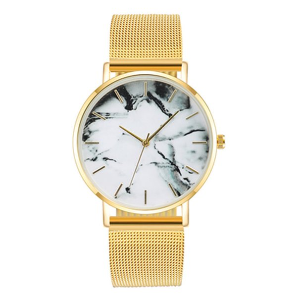 Luxury Fashion Ladies Watch Gifts Silver and Gold Mesh Band Creative Marble Wristwatches Casual Women Quartz Watches Relogio Feminino