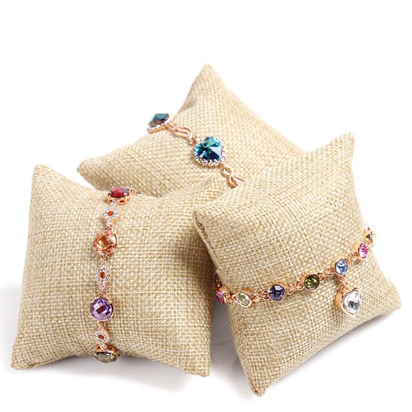 8 * 8 * 3.5 cm Anel de veludo travesseiro Camurça + Seda Multi Qualidade Pequeno Travesseiro Pulseira Pulseira Relógio Jóias Props Rack de Exibição de Jóias