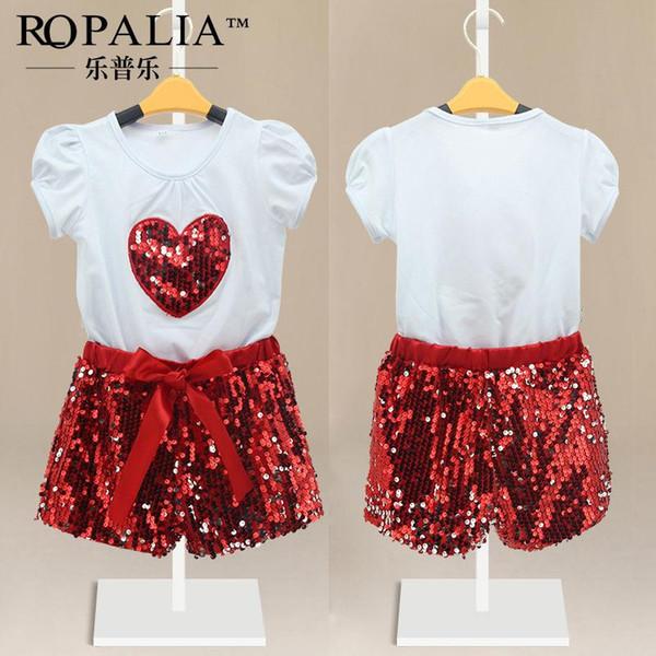 Nouveau Mode Paillettes Bébé Filles T-Shirt À Manches Courtes Top Coon + Pantalon Shorts 2pcs Outfit Sets Vêtements