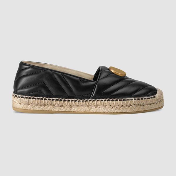 2019ss женская мода черная кожа espadrille скольжения на причинно-следственной обуви с 10