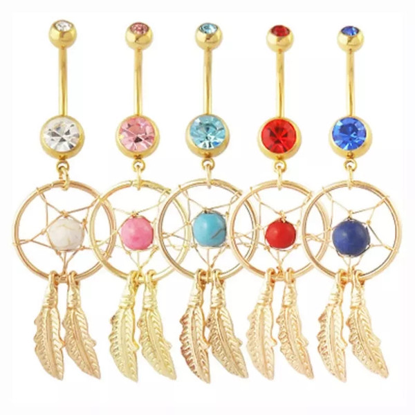Gold Dream Catcher Feather Blue Stone Navel Piercing Jewelry Belly Button Rings Nickel-free 316L Surgical Steel Body Jewelry Cheap Wholesale