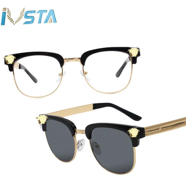 Medusa Sunglasses Men Half Rim Gold Beauty Head UV400 Mirror Lenses Sun Glasses Women Brand Designer Retro Fashion Vintage Steampunk