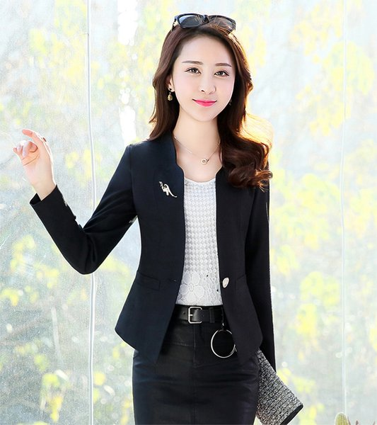 J44027 2018 Spring Autumn New Fashion Women Blazer Casual One Button Small Suit Jacket Ladies Short Coats Tops Trend