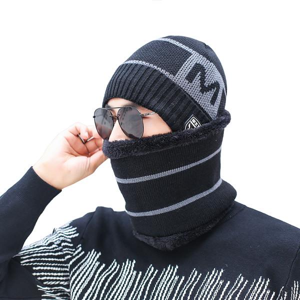 Men Winter Hat Scarf Set Knitted Letter Wool Winter Set 2018 Winter Caps Beanies Men's Scarves Neck Warmer Ski Caps Scarves