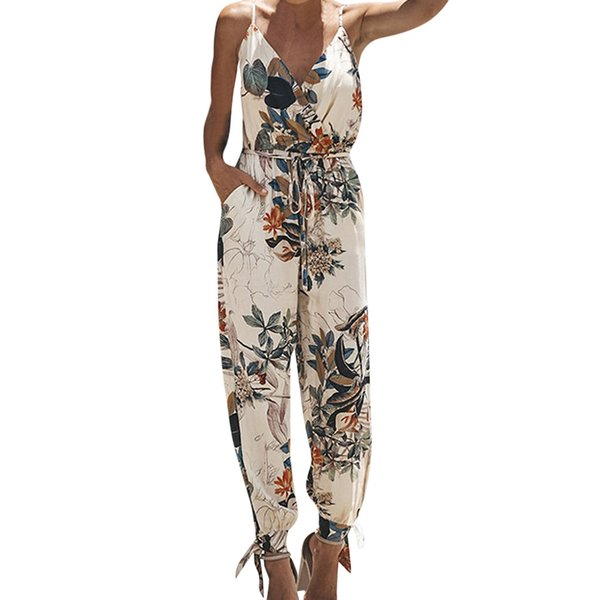 2019 New Summer Jumpsuits for Women Plus Size Elegantes Casual Beach Sleeveless V-neck Strap Lace Jumpsuit
