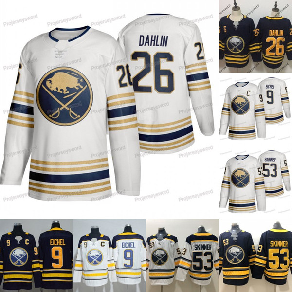 best selling Mens Buffalo Sabres Captain C 9 Jack Eichel Jerseys Gold 50th Patch 26 Rasmus Dahlin 53 Jeff Skinner 100% Stitched Third Hockey Jersey Cheap