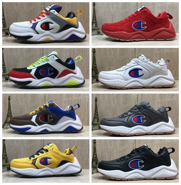 2019 Designer Champion 93Eighteen Suede Leather Chenille Logo Women Mens Fashion Sports Sneakers Old Dad Trainers Casual Shoes Chaussures From Men'S Champion 93Eighteen Casual Shoes