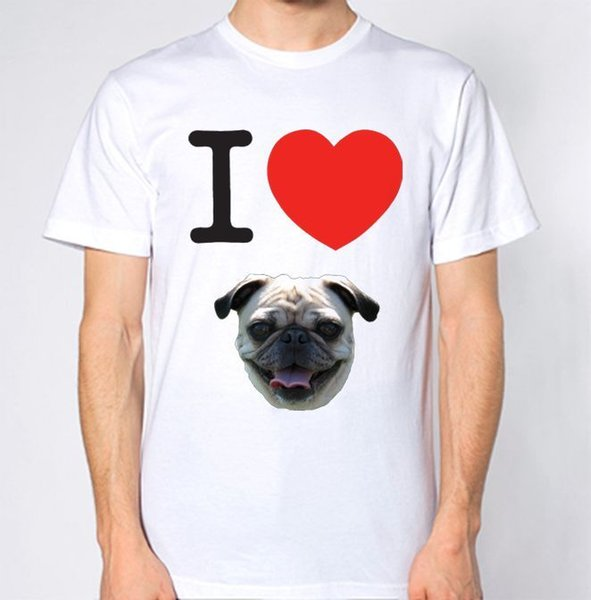 I Love Pug Top Dog Animal Lover Puppy Funny Hilarious New T-Shirt Classic Quality High t-shirt Style Round Style tshirt