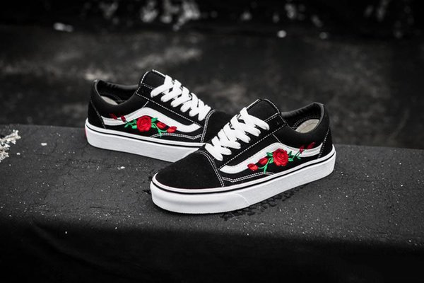 acff2ae6a780 2019 2019 VANS X AMAC Customs Men Women Skateboard Shoes Rose Embroidery  Sports Old Skool Skate Womens Canvas Designer Shoe Size 35 45 From ...
