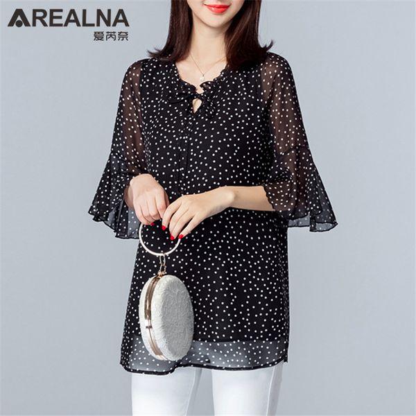 Vintage Plus Size 5xl Womens Tops And Blouses Summer Polka Dot Chiffon Ruffle Blouse Women Black Women's Long Shirt Blusas Mujer T419053101