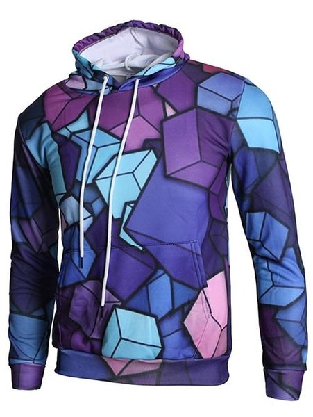 Drawstring 3D Geometric Cubes Print Hoodie