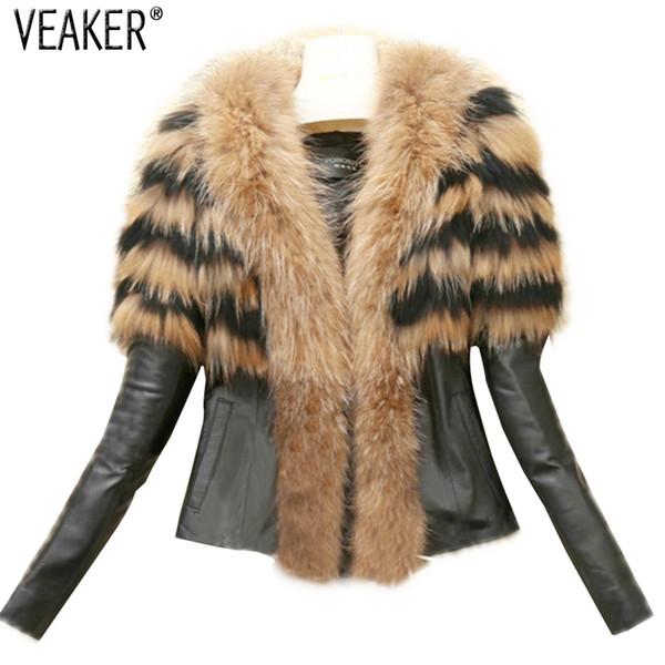 Women/'s Rabbit Fur Collar Pu Leather Furry Lining Warm Slim Fit Coats Jackets SZ