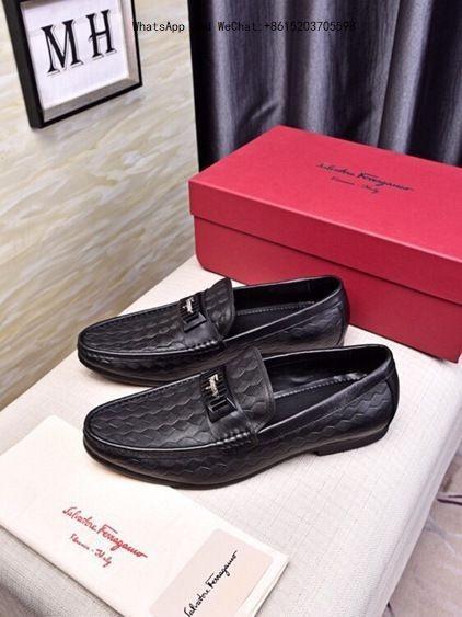 Genuine Leather Men's Loafers Brand Men Dress Shoes Business Wedding Fashion Size Model red bottom high heels