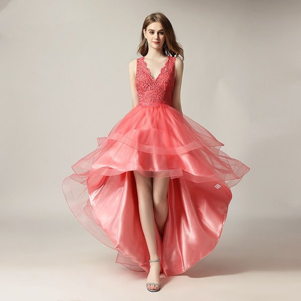 Deep V Neck High Low Prom Dress Lace Party Gown Short Front Long Back Evening Dress for Graduation 2019 Sweet 16 Dresses