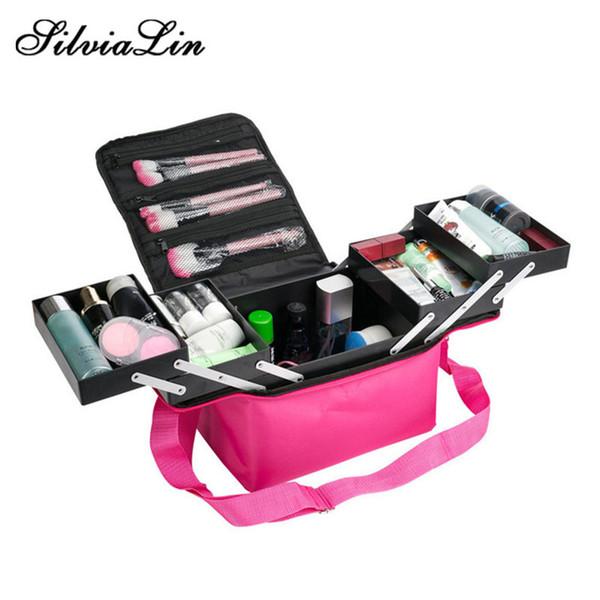 Fashion Women Makeup Organizer Large Capacity Multilayer Clapboard Cosmetic Bag Case Beauty Salon Tattoos Nail Art Tool Bin Y190702