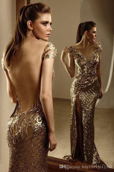 2019 Shining Sexy V Neck High Side Slit Open Back Prom Dresses Cap Sleeve Floor-length Sequined Evening Dress 014