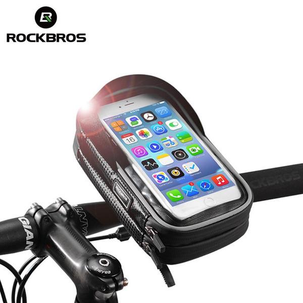 ROCKBROS Bicicleta Motocicleta Soporte para teléfono móvil Pantalla táctil Bolsas a prueba de lluvia Teléfono celular Protectores de pantalla Bicicleta Manillar Bolsas