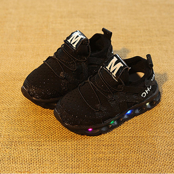Bahar Led Işık Ile Çocuklar Çocuk Ayakkabıları Çocuklar Rahat Net ayakkabı Erkek Kız Sneakers Parlayan 21-25 Boyutu