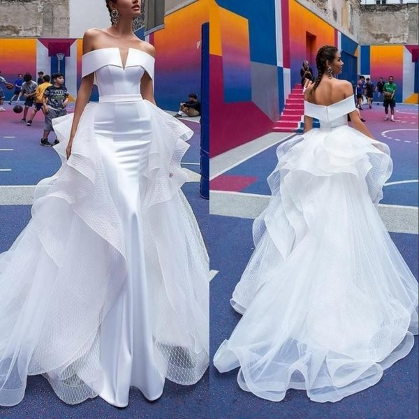 2020 Vintage Berta Mermaid Wedding Dresses Detachable Train Off The Shoulder Short Sleeve Pleats Open Back Beach Bridal Gowns Custom