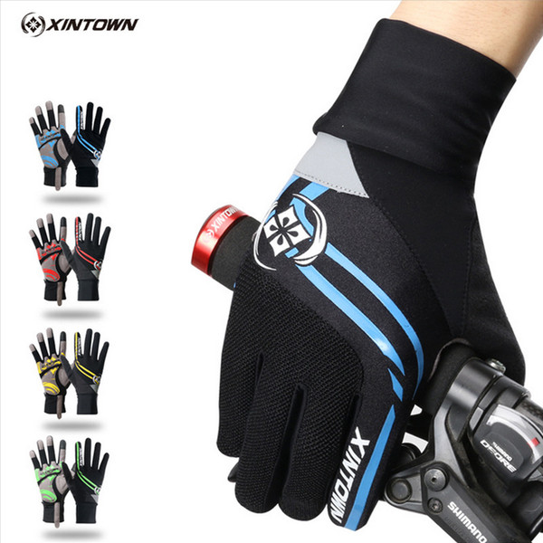 XINTOWN Bike Gloves Cycling Windproof Long Gloves Green Riding Ciclismo Winter Touch Screen Shockproof Full Finger Gloves