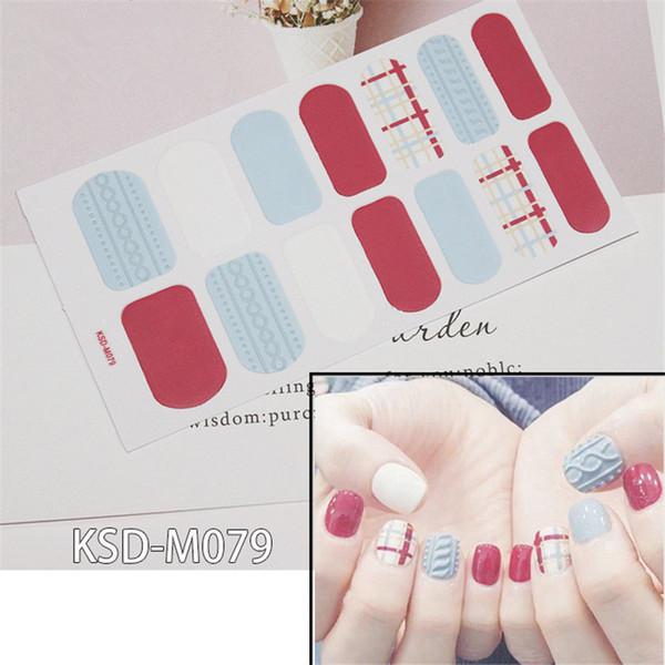 14tips / лист Зимнего дизайна ногтей свитера наклейка Красочной Полные Советы Накидка для DIY клея Таблички женщин Nail Art Decor Оптового