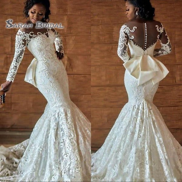 top popular 2019 Vintage Long White Lace Mermaid Bride Dress with Bow Sexy Evening Wear Formal Gown High-end Wedding Boutique 2020