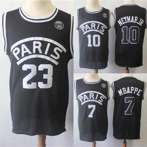 AJ PSG Paris Film Jersey 23 Michael 10 NEYMAY JR 7 MBAPPE Paris Maillots De Basketball Noir En Gros Mix Ordre Livraison Rapide