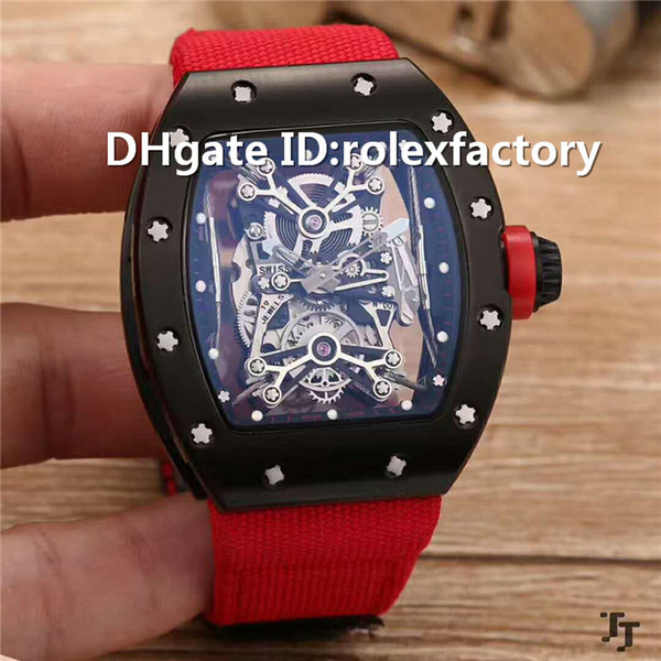 New Luxury 50-27-01 Skeleton Dial Watch Tourbillon Automatic 21600bph Titanium Carbon Case Canvas strap transparent case back Mens Watch