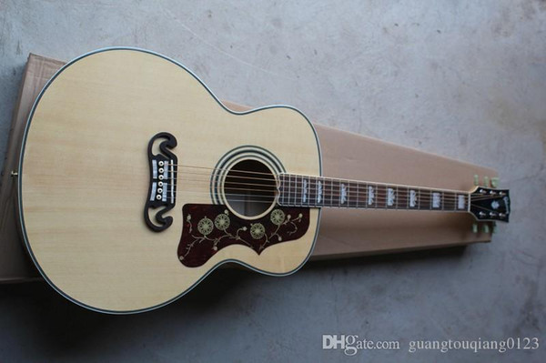 folk Spruce Surface veneer 6 Strings SJ200 Burlywood Tiger stripes Natural colo Electric Acoustic Guitar