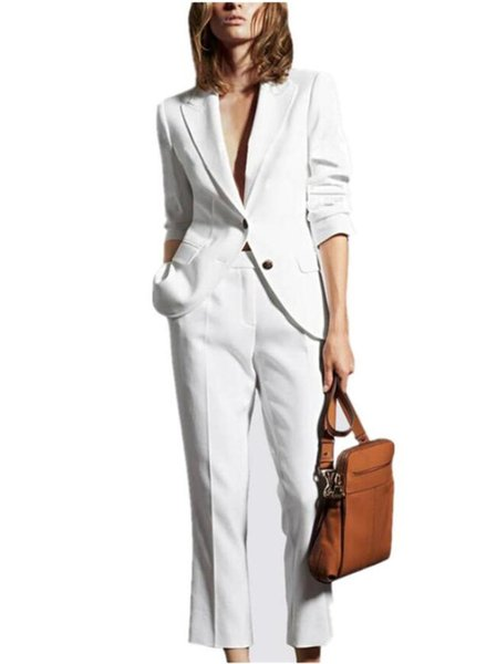 White Women Business Pantsuits Female Office Uniform Formal Pant Suits for Weddings Ladies Trouser Suit Jacket+Pants Custom Made