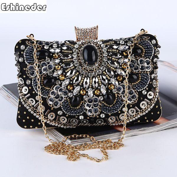 Bordados de diamantes Dama Embrague Cadena Bolsos de hombro Bolso estilo hecho a mano Con cuentas Mujeres Bolsos de noche Diseño de corazón Carteras