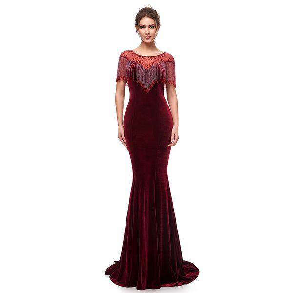 Sexy Velvet 2019 Mermaid Evening Dresses Jewel Neck Formal Party Dresses Zipper Burgundy Prom Dress Celebrity Gowns Custom Made In Stock