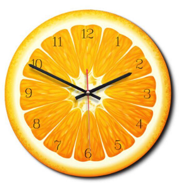 Creative Cartoon Fruit Pattern Wall Clock Europe Style Fashion Wall Clocks Orange Lemon Kiwifruit Watermelon Shape Clock Home Bedroom Decor
