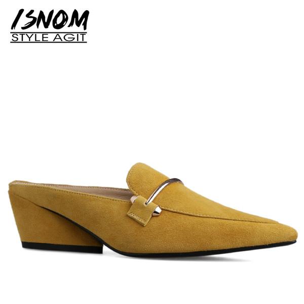 ISNOM Kid Wildleder Hausschuhe Frau Spitz Schuhe Metall Dekoration Rutschen Weibliche High Heels Schuhe Mules Schuhe Frauen Sommer