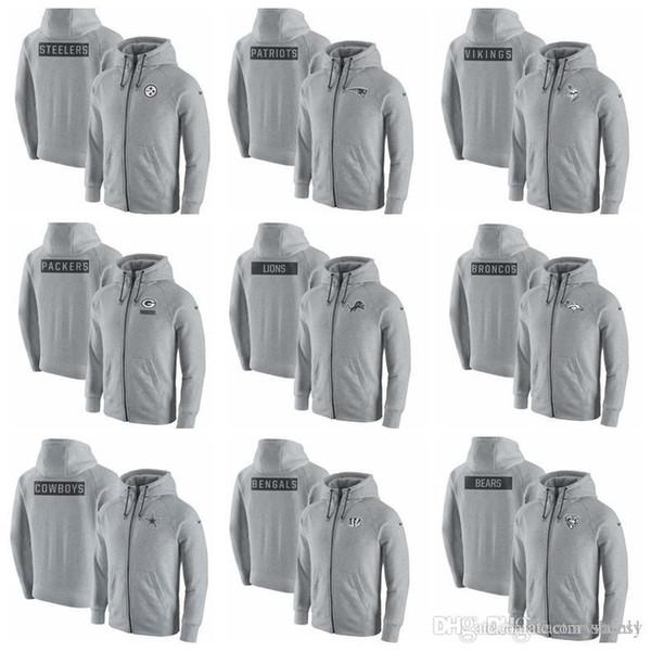 Cotone vendita calda NOVITA '2019 Mens Felpa con cappuccio Bengals Cowboys Broncos Lions Confezionatori Gridiron Grigio 20 Felpa con cappuccio full zip Cenere